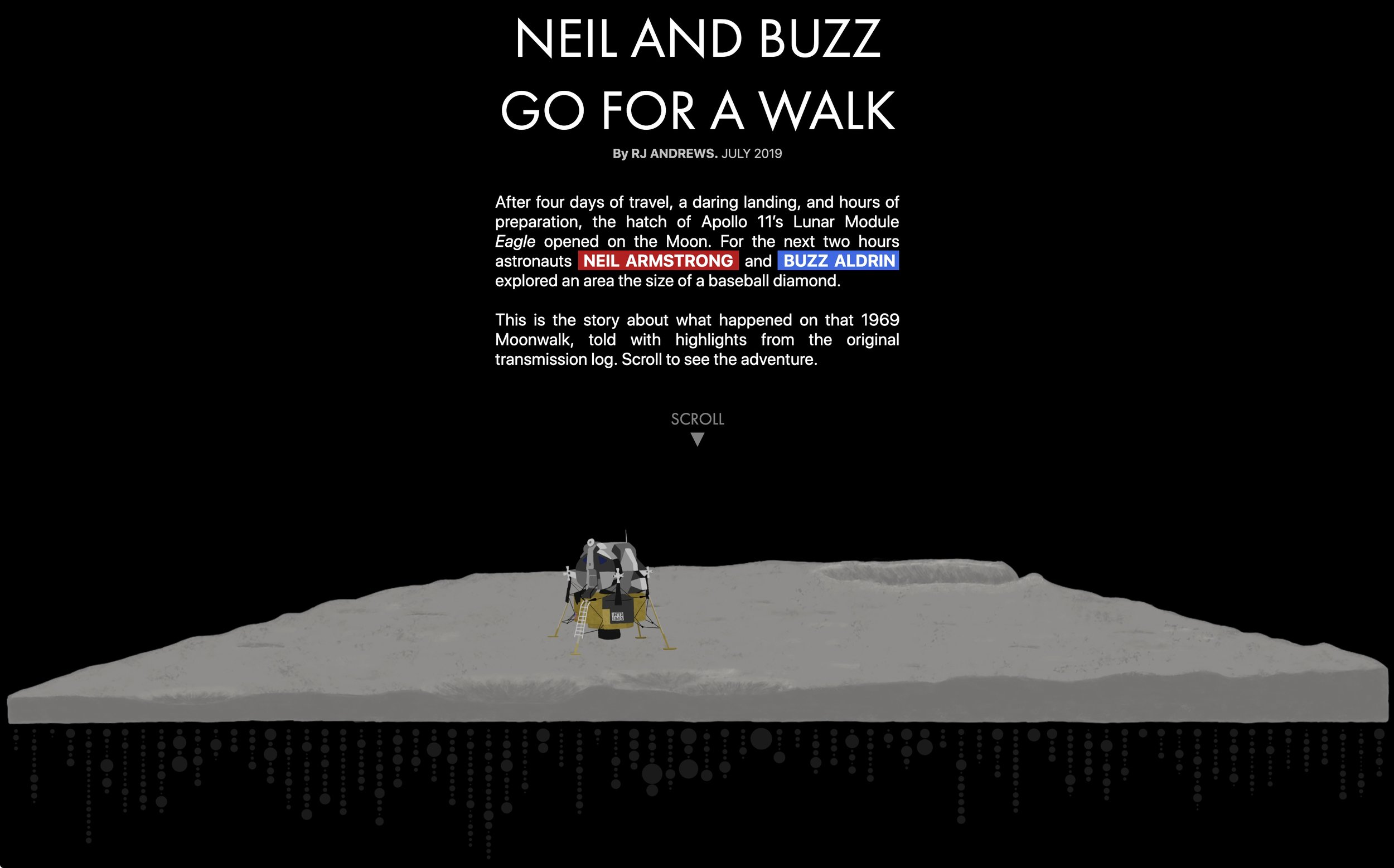 Neil & Buzz Go For A Walk Scrolling interactive Visualization