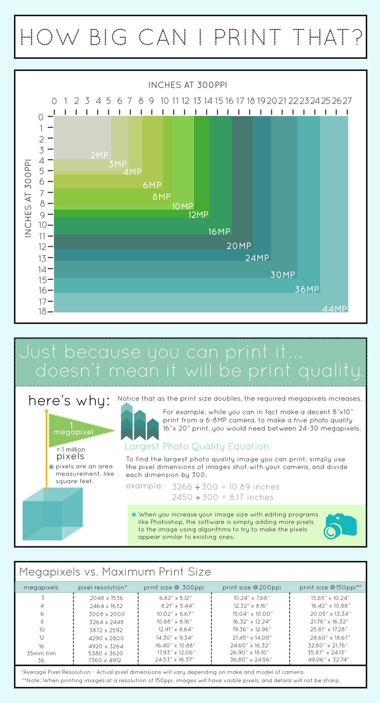 A Handy Guide to Image Print Resolutions infographic