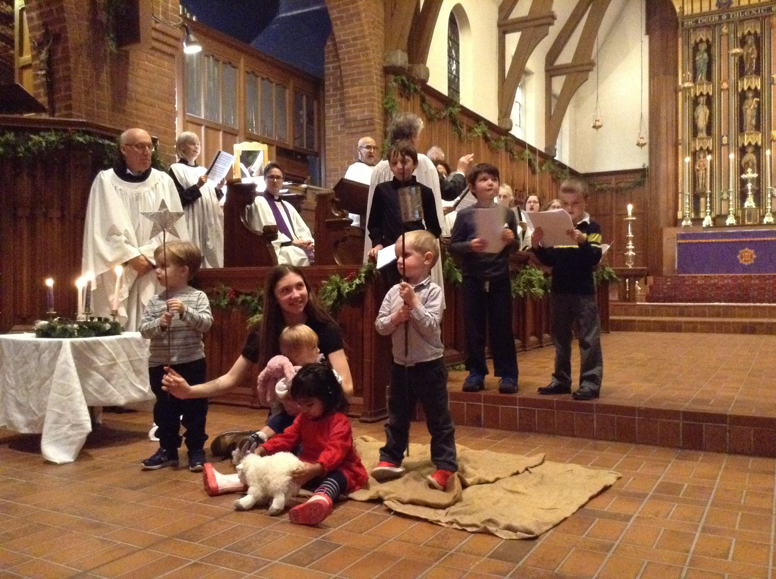 Children of the Church School and Nursery School present their Christmas pageant on Advent IV 2018, accompanied by the choir.