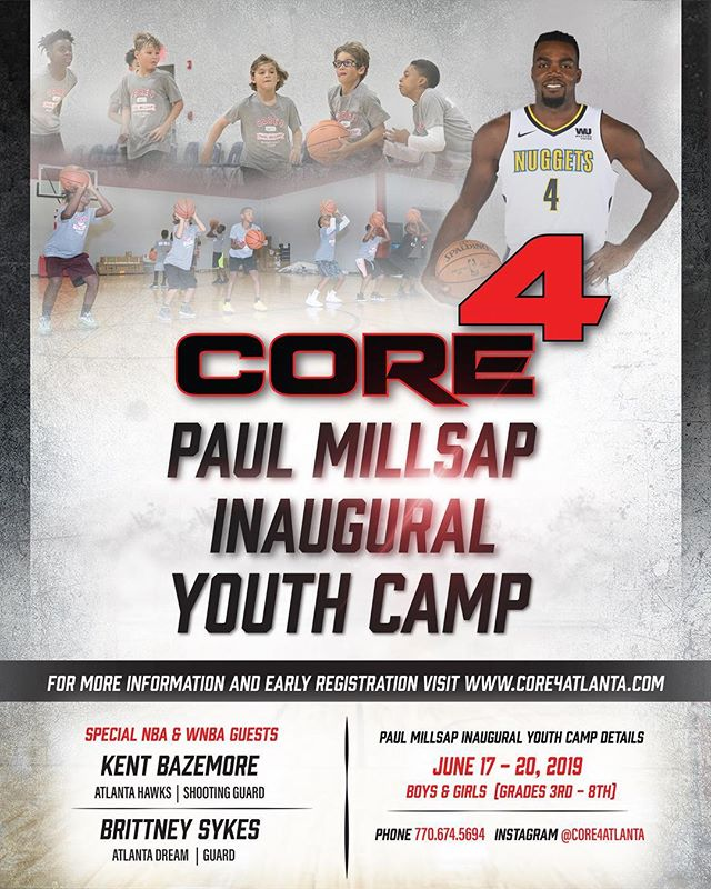 🗣 IT'S HOOPIN' TIME. + + Get the kiddos signed up for the @paulmillsap4 summer camp in June. Featuring pro basketball players like @brittbundlez & @24baze. + + Early registration saves $50 if parents register their kids by May 17th. 🔗 in bio.