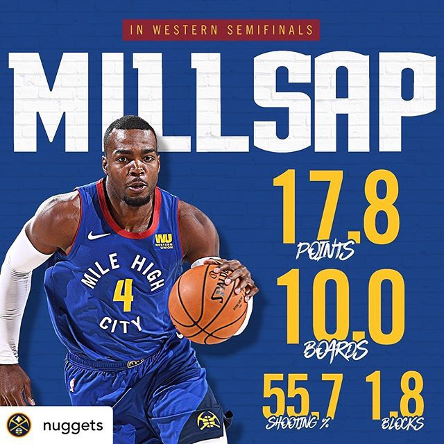 #Repost • @nuggets Playoff Paul! • Our Founder, @paulmillsap4 has been a walking bucket in the second round of the @nba playoffs. The series is tied 2-2 against the Trailblazers. • Game 5 is tonight at 10:30 on @nbaontnt be sure to tune in • Drop a comment and let us know who y'all got tonight 👀