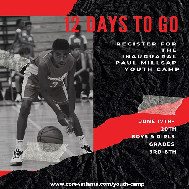 Only 1️⃣2️⃣ days left until the Inaugural @paullmillsap4 Youth Camp •  Featuring Pro Basketball Players @brittbundlez & @24baze • You don't want to miss it! Sign up your kids before it's too late! • 🔗 in bio. See you there!
