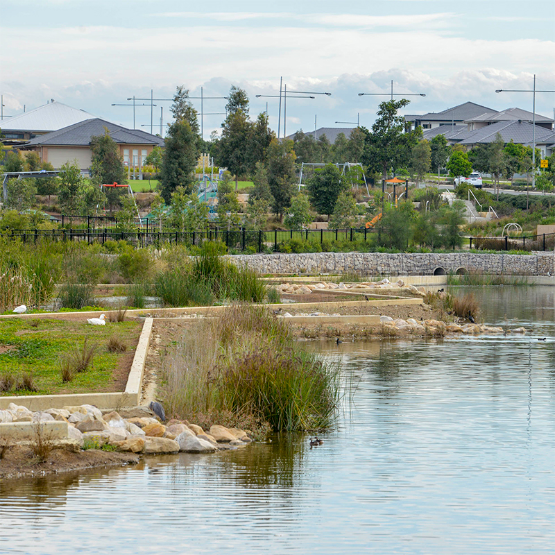 A housing development and waterway.