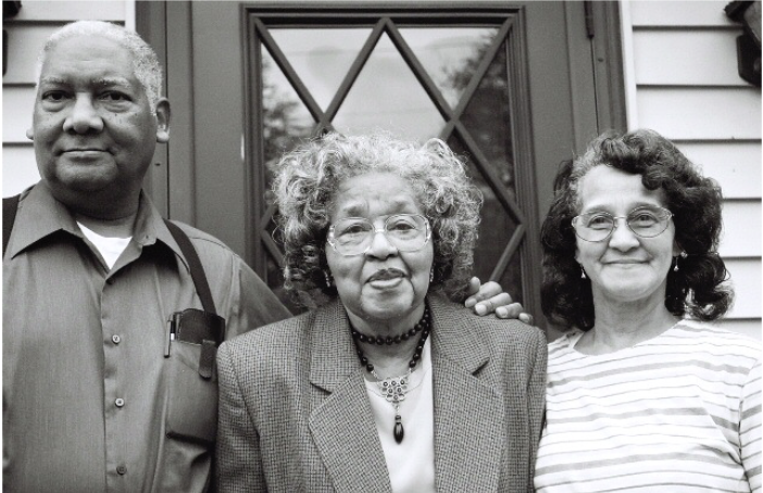 I told the judge, 'Just let me get my ironing done and I'll go to jail.' It was comical in a way and it was nerve wracking in a way. I didn't care. I was thinking of the children. - --Gertrude Clemons Hudson (center) with Merle Hudson and Joyce Clemons Kittrell, Plaintiff in Clemons v. Board of Education, Hillsboro, OH, 1956.