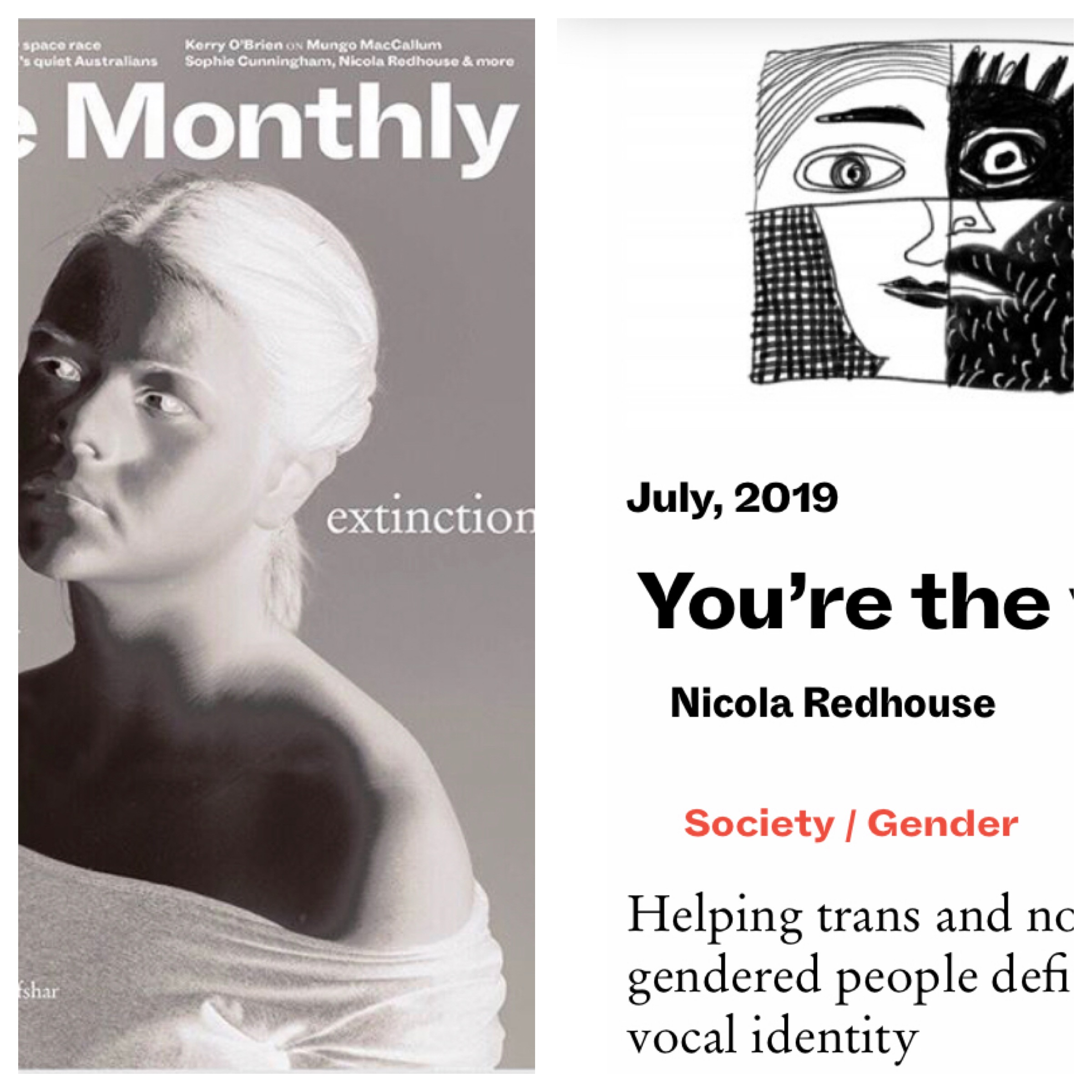 'You're the Voice' - The Monthly, July, 2019Helping trans and non-binary gendered people define their vocal identity.