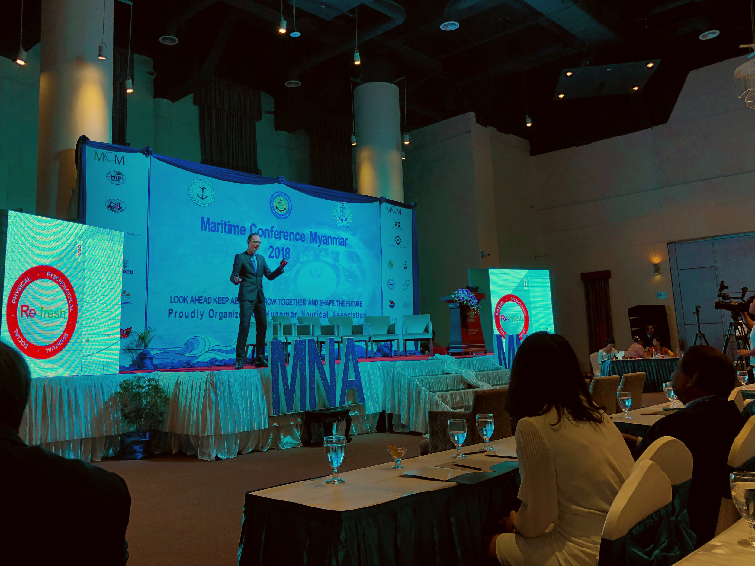 President Adrian Stray Presenting Refresh at the Maritime Conference Myanmar (Yangon, 2018)
