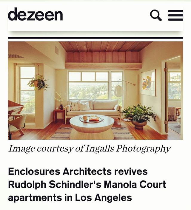 "@bridgetcogley wrote a wonderful piece about the Manola Court restoration for @dezeen (the living room in Live to Give LA apartment made the cover). The reviews are in: ""WOW. Kuddos. Seriously"" and ""Damn, I love seeing these original modern projects getting the restoration they deserve"". Hats off to @enclosuresarchitects, @theplatformexperiment, and @terremoto_landscape for not only making this restoration possible, but for giving your best work to preserve such an important piece of modern architecture history.  #dezeen #modernhome #livetogivela #manolacourt #rudolphschindler #schindler #rmschindler #architecture #stayhere #wheretostay #modernarchitecture #moderninterior #restoration #silverlake #losangeles #ca #homepreservation #shorttermstay #hermansachs #midcentury #laarchitecture"