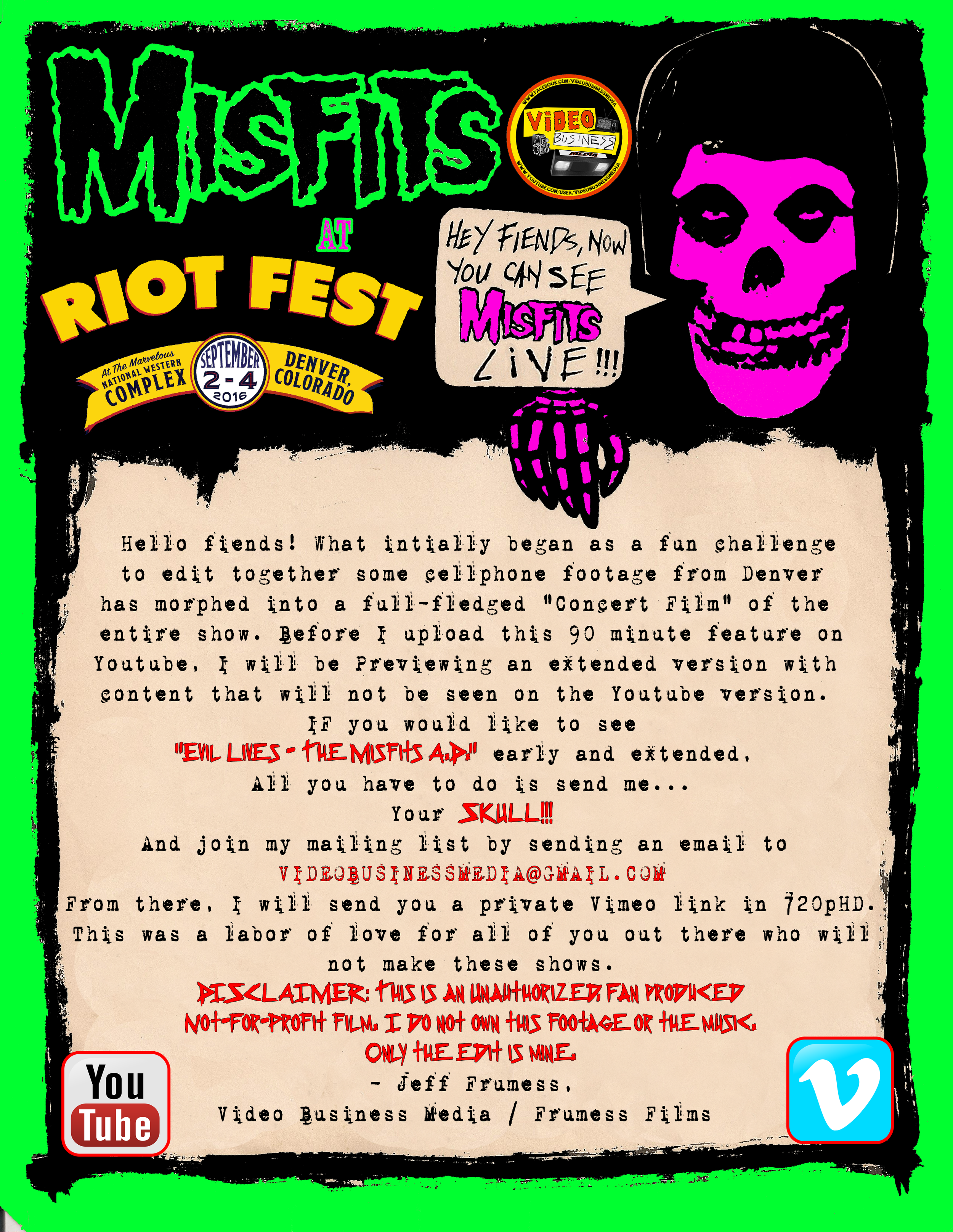"""Glenn Danzig and Jerry Only reuniting with Doyle as """"The Misfits"""" to play two Riot Fest dates in 2016 was an unparalleled example of Hell truly freezing over. Incredibly, the band would continue to play shows, but only with a strict  YONDR  policy in place to prevent people from shooting photos and video for the duration of the show (My friend Rich, thinks this unauthorized concert film is to blame). In frenzied anticipation of the Chicago show (for which I had tickets) I began watching the various crowd shot cellphone videos from the first show in Denver. Inspiration struck as I was overwhelmed by the sheer number of videos floating around on Youtube. I became obsessed with a single challenge: Can I rip all of these crowd shot videos and sync their audio in order to recreate the FULL 80 minute show? The answer was yes.  Using approximately 144 different cellphone/DSLR clips, I managed to sync up the whole show. Some songs like """"Death Comes Ripping"""" use 11 different angles from the various cellphones in the audience.  Considering the materials I had to work with, I am very proud of the result.   Watch it here - NOTE: This is a non-commercial, unauthorized concert film and only featured on this site for free."""