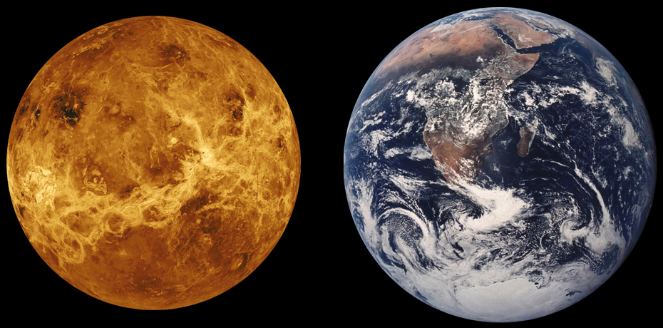 Size comparison of Earth and Venus. Radar image of Venus surface shown.