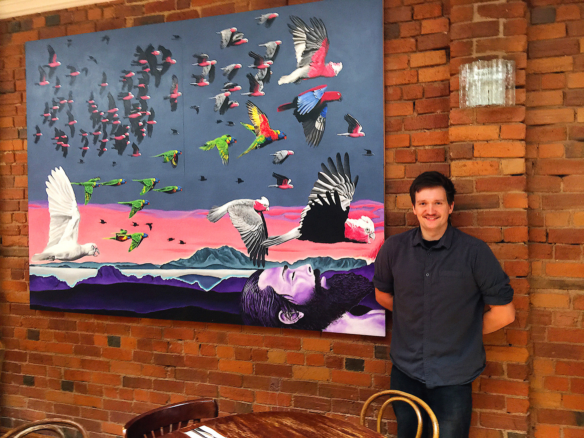 This is Felix. Apart from conducting service of the Red Hill Hotel like Darren Barreboim, he's also a lovely bloke… We managed to unwrap, re-assemble and mount this hefty pic by ten past twelve, with a full compliment descending on the pub for lunch. Felix watered the arrivals downstairs.  Didn't flinch. Didn't blink. Legend.