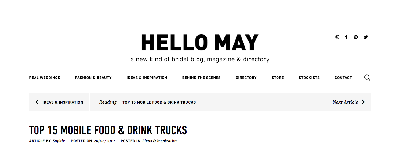 Featured in Hello Mays TOP 15 MOBILE FOOD & DRINK TRUCKS