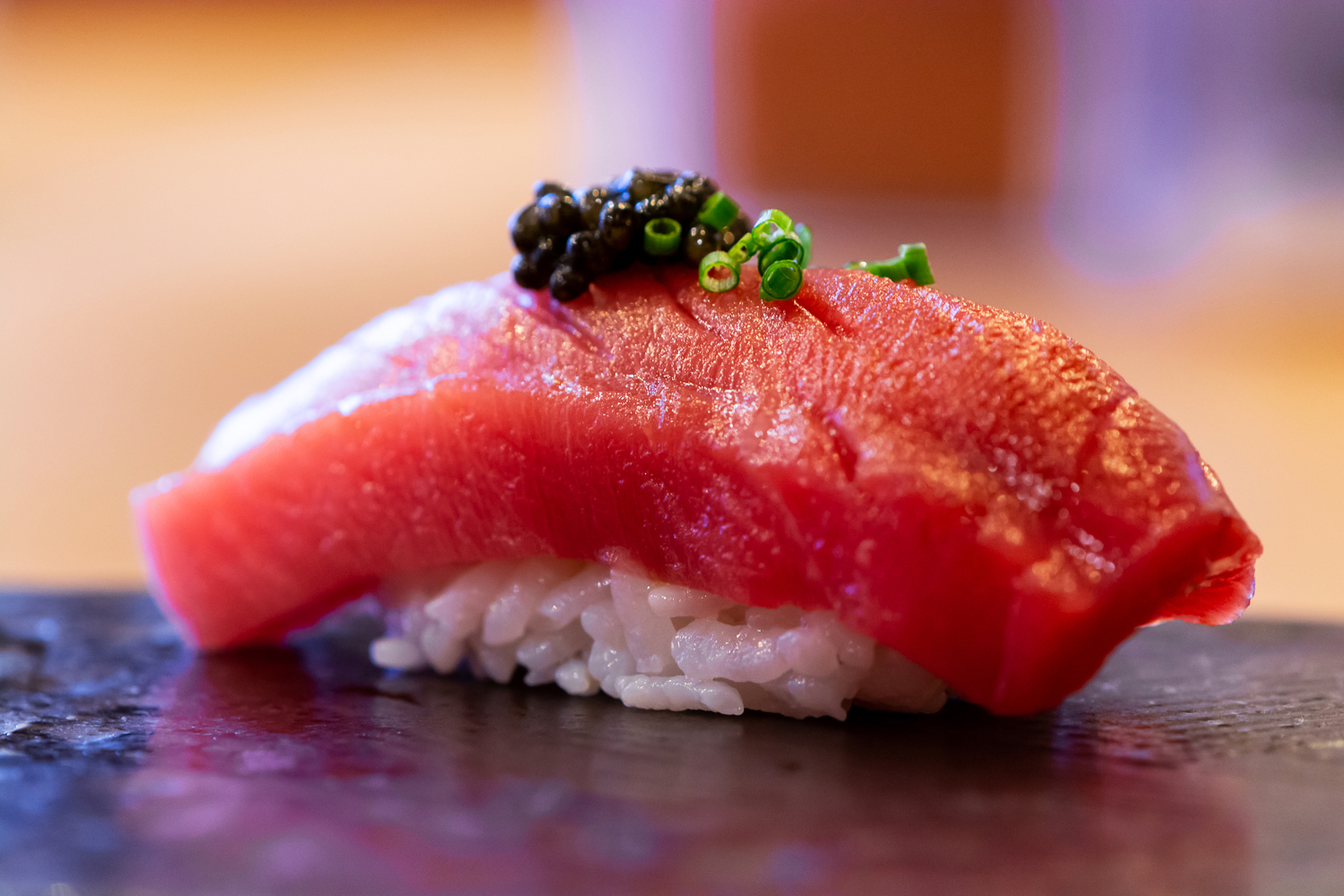 chu toro (medium fatty tuna) nigiri - topped with caviar