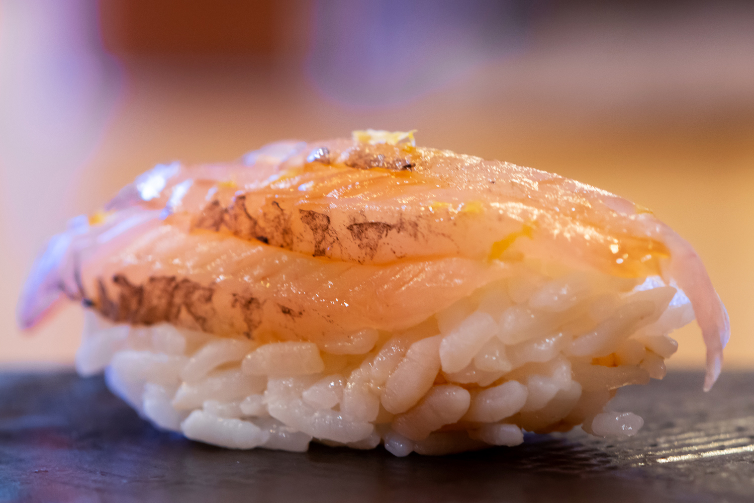 tobiuo (flying fish) nigiri - this is the fish the restaurant is named after!