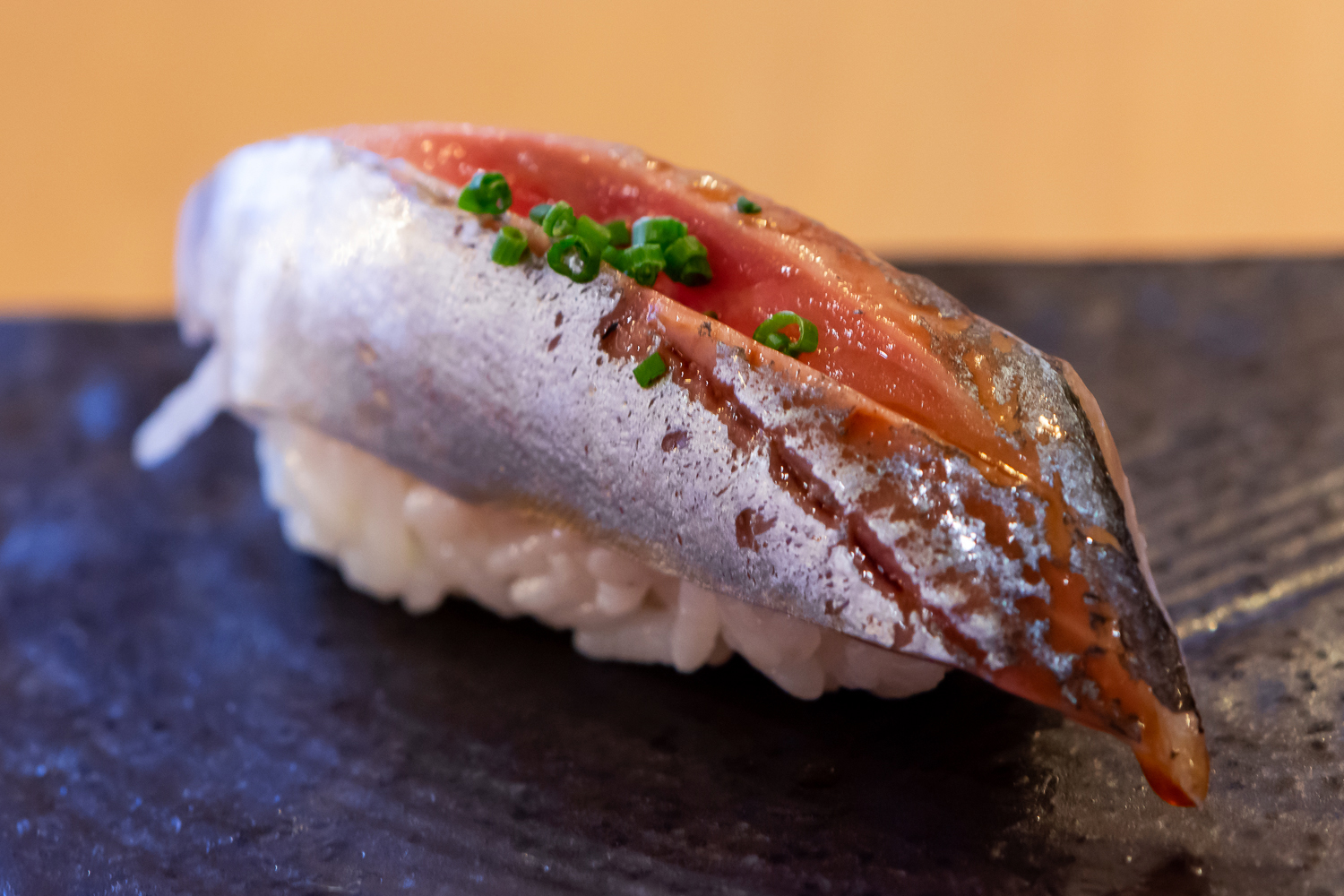 aji (horse mackerel) nigiri - my personal favorite fish