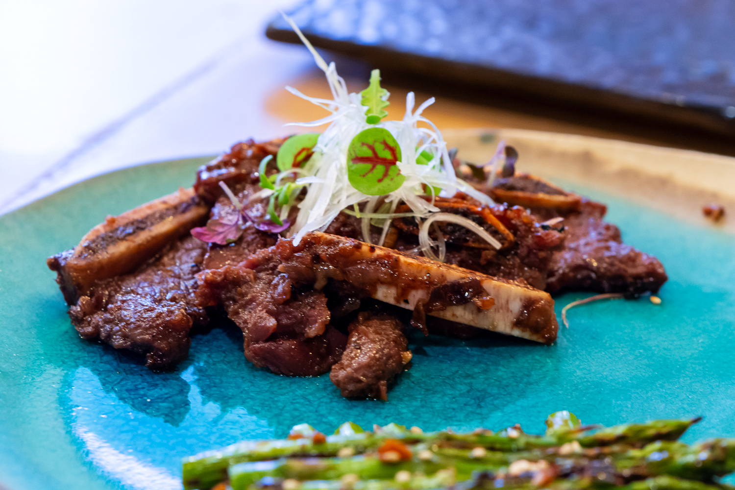 galbi (ribs) and asparagus