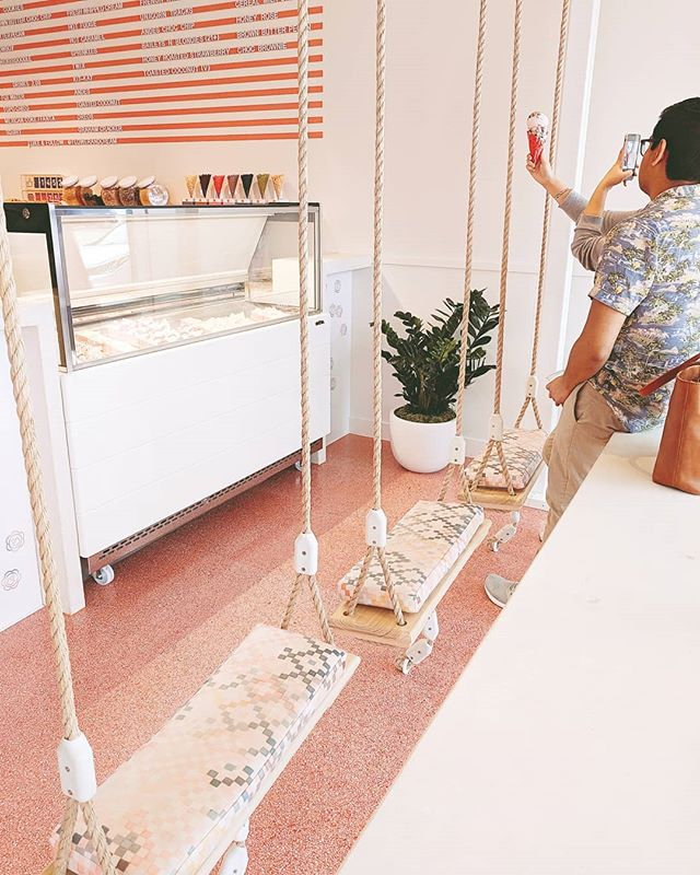 Enjoy 25% off your order at @flowerandcream's soft opening now. Saturday 6/29 will be their grand opening. Their special will be pay what you want and 100% of it will go to Ronald McDonald House Houston @rmhhouston!  #icecream #icecreamparlor #grandopening #softopening #swingchairs #houstoninteriors #peach #pinkaesthetic #orangeaesthetic #cuteinterior #photospot #houstontx #houstongram #htxgram #swings #swingseat