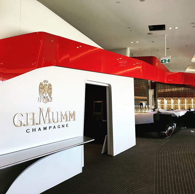 THE RACE THAT STOPS THE NATION! 🐎 🇦🇺 We hope you all managed to pick a winner yesterday @lexusaustralia_melbourne_cup 🏆  We know we sure did when we got asked to paint this beautiful red rib ribbon for the @ghmummau marque in the @birdcagemelbourne sitting above one of the most important parts of the day, the bar of course!!🥂🍾 Loved working on this with the guys @pippoandco_design and @batessmart!! And loved how well it came up! ❤️❤️ : : : :  #dmauto #dandm #melbournecup #flemington #flemingtonracecourse #ghmumm #ghmummchampagne #melbcupcarnival #bar #ribbon #champagne #red #painting #paint #manufacturing #metals #interiordesign #design #new #work #spraypaint #spraygun #spraybooth #manufacturing #luxe #luxury #atmosphere #art #interiordesign #design #architecture #photography