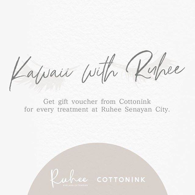 Have you heard our collaboration with @cottonink ? You can get free gift voucher for every treatment at @ruhee.id Senayan City and and redeem it at @cottonink Senayan City and Plaza Senayan 😉 - 🌸Ruhee 📍Senayan City Mall, LG, Unit L-07C 📍GoWork @ Setiabudi 2 Building, Ground Floor, Unit 102AB 📞081113014832 - #eyelashextensionjakarta #sambungbulumata #naturaleyelashextension #lashextensionjakarta #sambungbulumatajakarta #beautyaddict #instamakeup #browenvy #salonbulumata #salonbulumatajakarta #まつげエクステ #まつ毛エクステ #アイラッシュ #ボリュームラッシュ #アイラッシュサロン #マツエク #まつげエクステサロン #まつエク #ノンダメージラッシュ #ケラチンラッシュリフト #アッパーリフトカール  #まつ毛カール