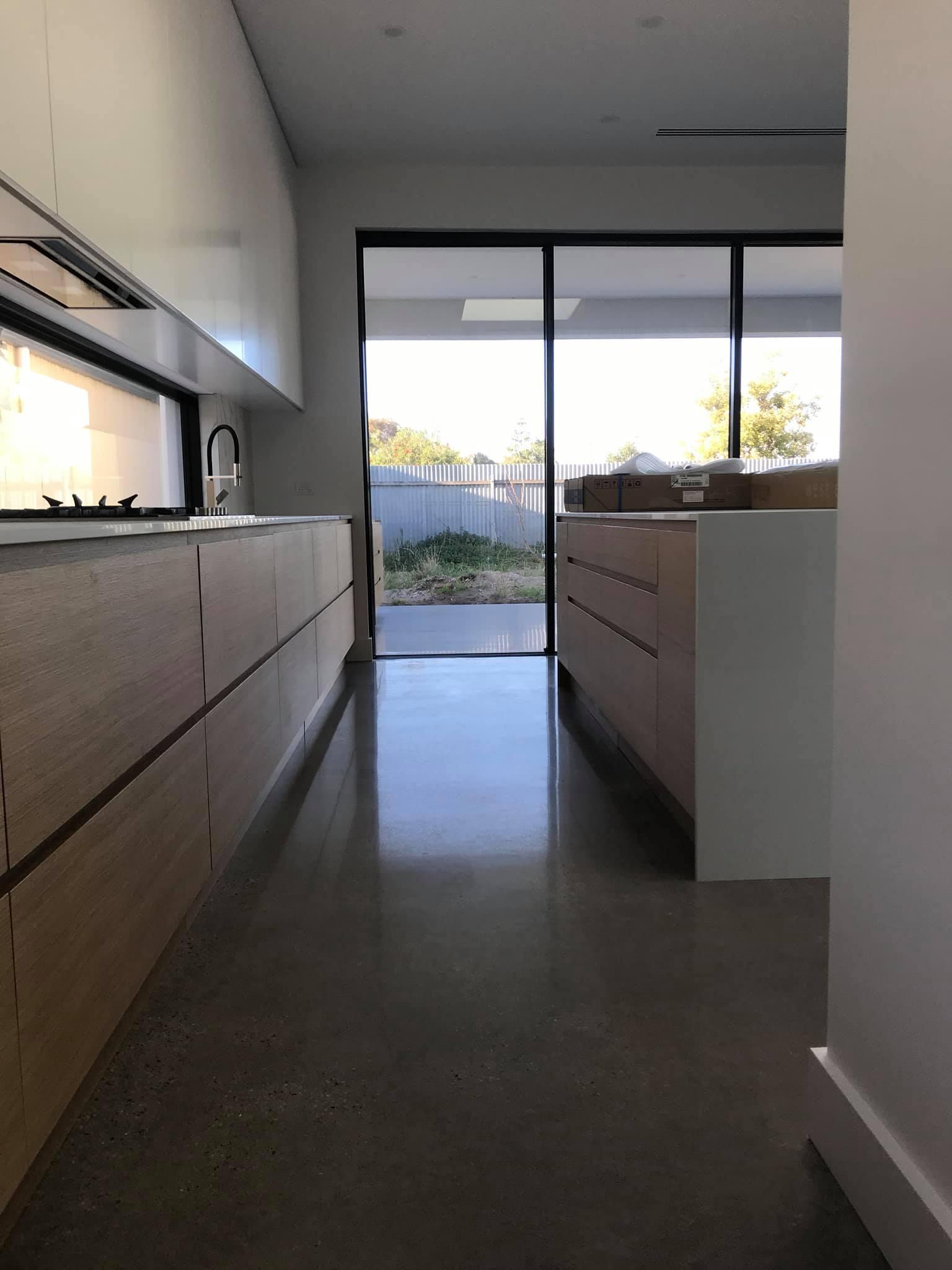 Full exposed kitchen floor