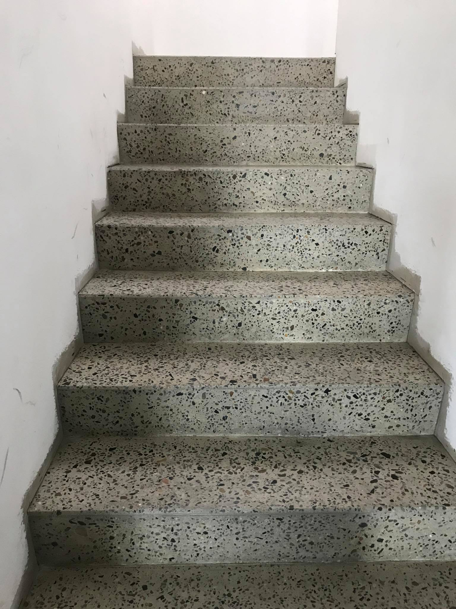 Full exposed concrete polished staircase