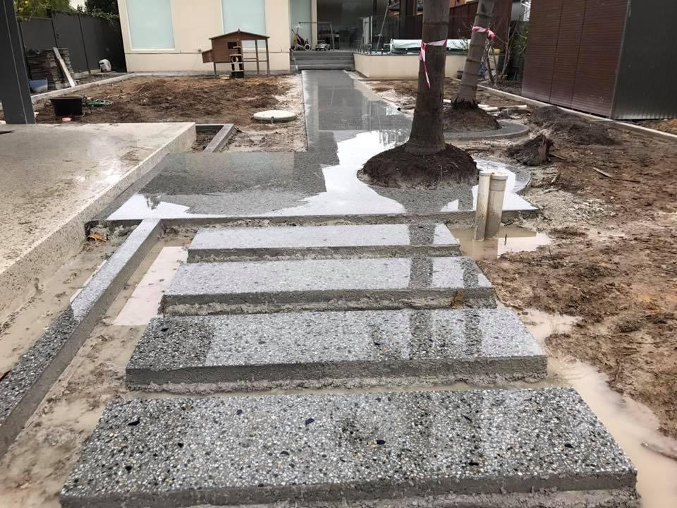 Salt and Pepper concrete polished steps