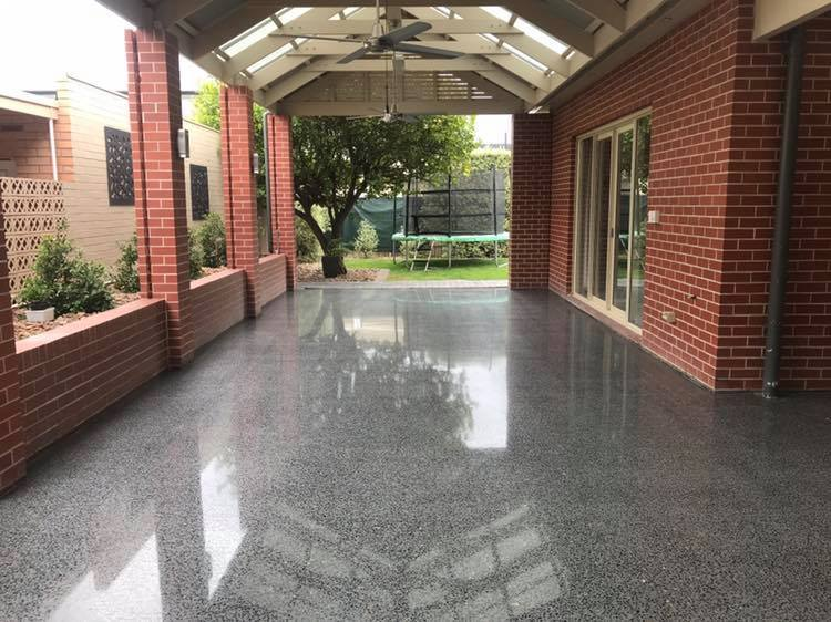 Full Exposed - The full exposed floor is when 3-5mm of concrete is ground to achieve an even aggregate look. There are multiple varieties of colours and aggregates to choose from depending on which concrete company you choose. We can help you choose the right company to give you the result you want!