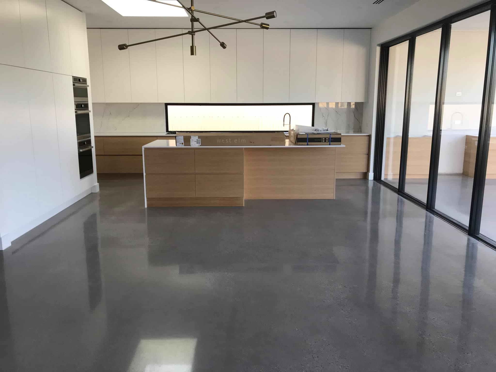 Salt & Pepper polished concrete in kitchen