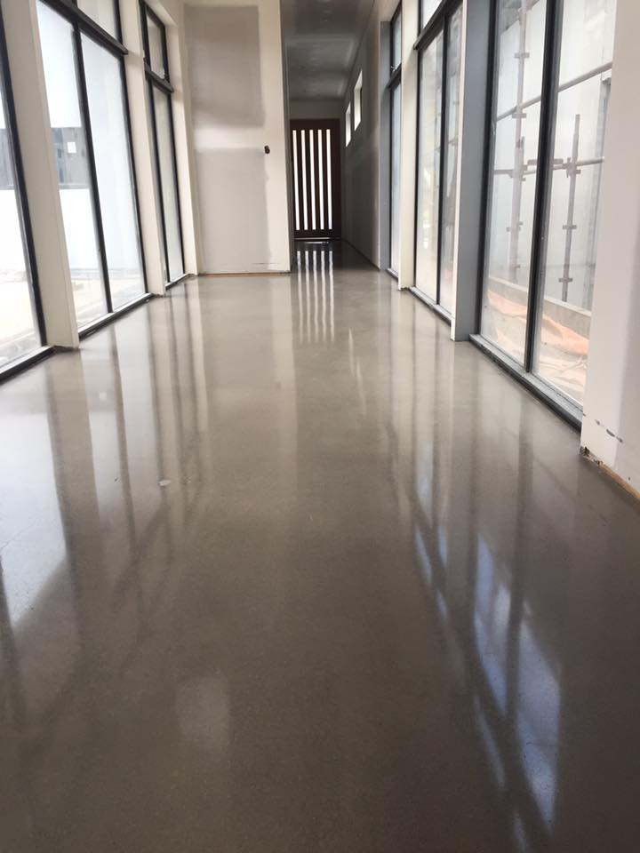 Warehouse polished concrete in hallway