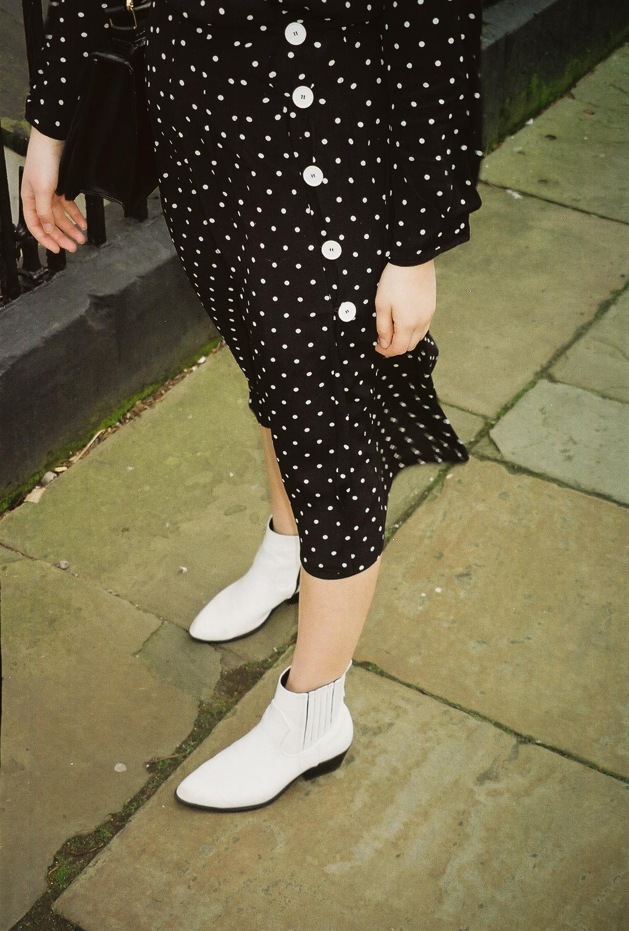 white cowboy boots polka dot midi dress