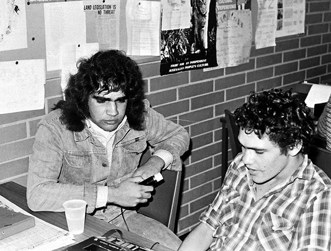 Des Morgan and Robbie Thorpe. Swinburne Community Organisation Course 1976   Source: Koorie History Website, Gary Foley Collection