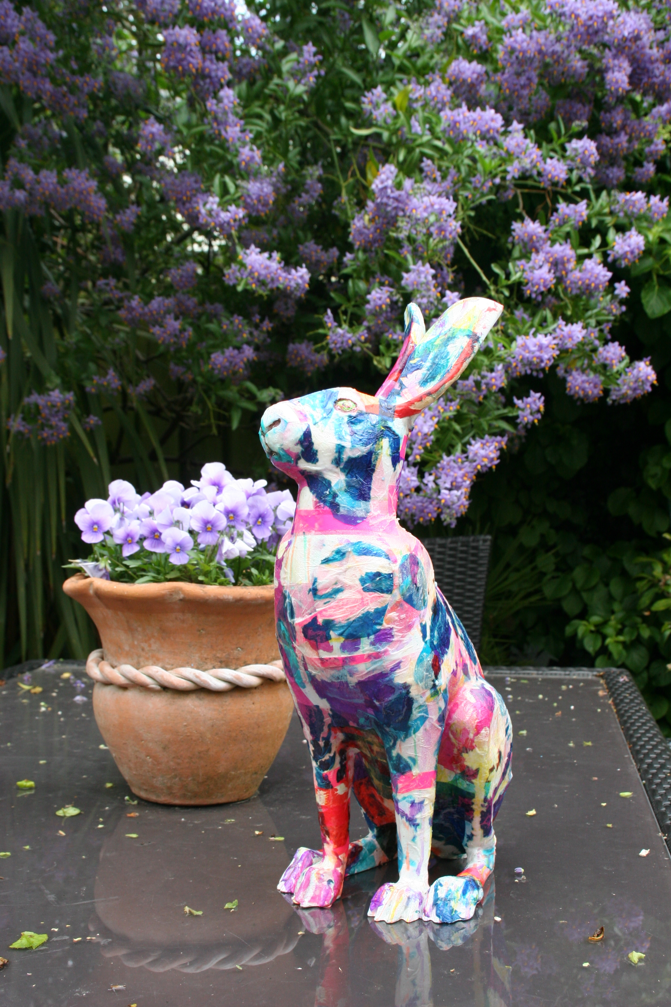 Sculptures and Commissions - These include totemic timber poles, hares for the Cotswold Hare Trail, Bicycle for Cheltenham Cycle festival, lollipops, a pigeon and a decorated lamp post for Cheltenham Town Council!