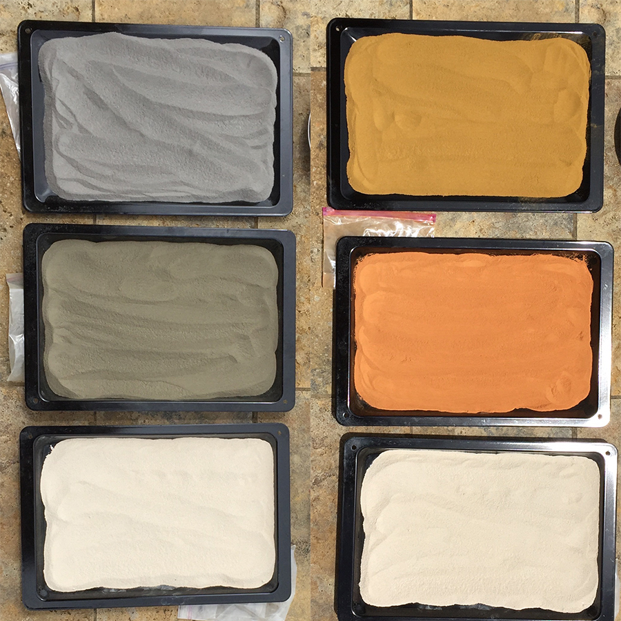 Once washed, the pigments are set to dry