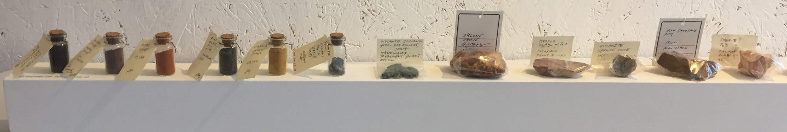 The rocks and pigments are often exhibited alongside my paintings.