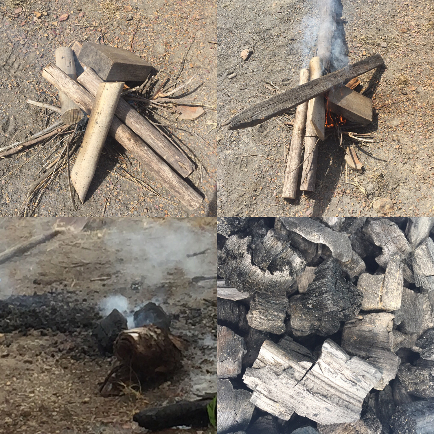 Making charcoal with different woods