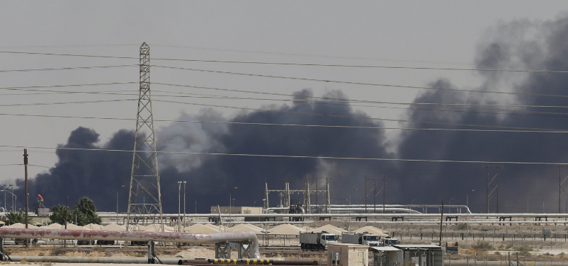 Smoke rises from a Saudi Aramco plant in Abqaiq, after a foreign attack targeted the facility. (Credit: Hamad I Mohammed, Reuters)