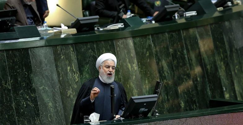 Iranian Presdient Rouhani speaks to the Iranian Parliament on Wednesday, Sept 3 about the resumption of nuclear centrifuge activity.(Credit: Atta Kenare)