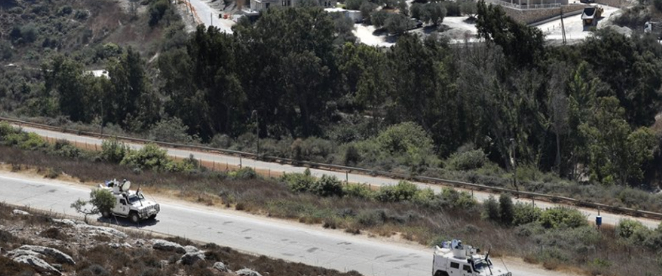 UN peacekeepers patrolling the Israeli-Lebanese border on 9/2/19, one day after the Hezbollah attack on an IDF base nearby. (Credit: AP, Hussein Malla)