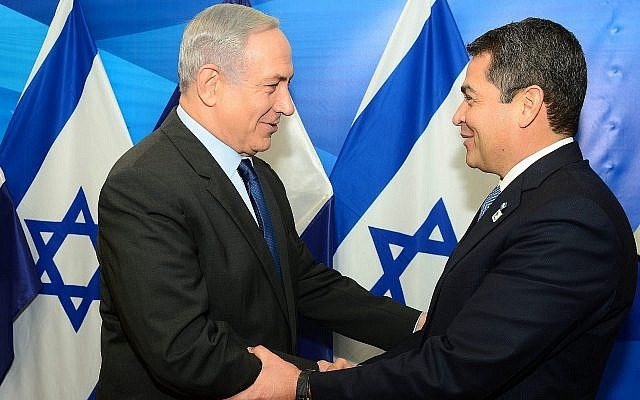 Prime Minister Benjamin Netanyahu meets with Honduras President Juan Orlando Hernandez in Jerusalem, on October 29, 2015. (Credit: Kobi Gideon, GPO, Flash90)