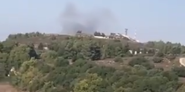 Smoke rises near an IDF installation near Avimim after a Lebanese Hezbollah attack disabled a vehicle (Taken from social media).