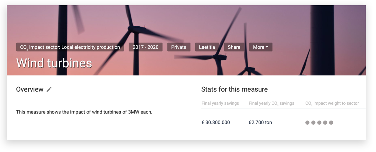 - Easily develop your city's climate plan. Add relevant measures and actions from a predefined list and adapt them to your city's goals. Immediately see the impact on CO2 emissions and cost savings.💡Our tipFocus on the measures with the biggest impact ('weight' in the overview).