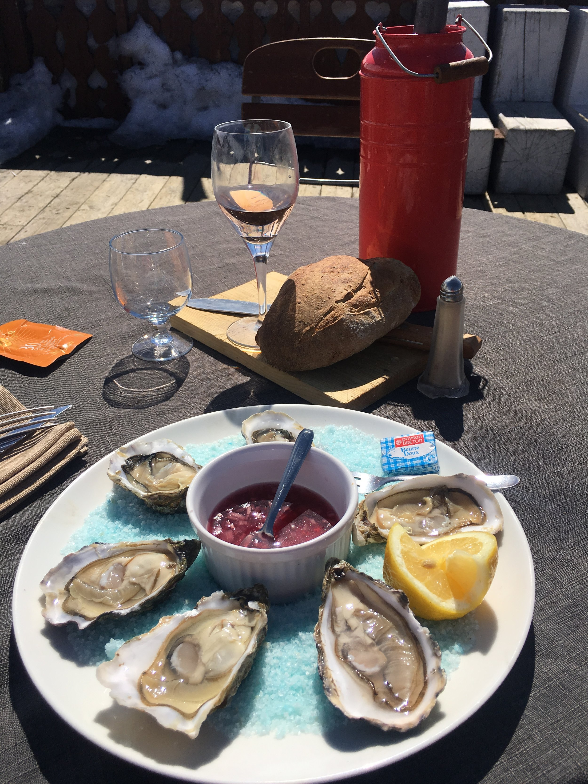 oysters wine and bread on tghe mountain.jpg