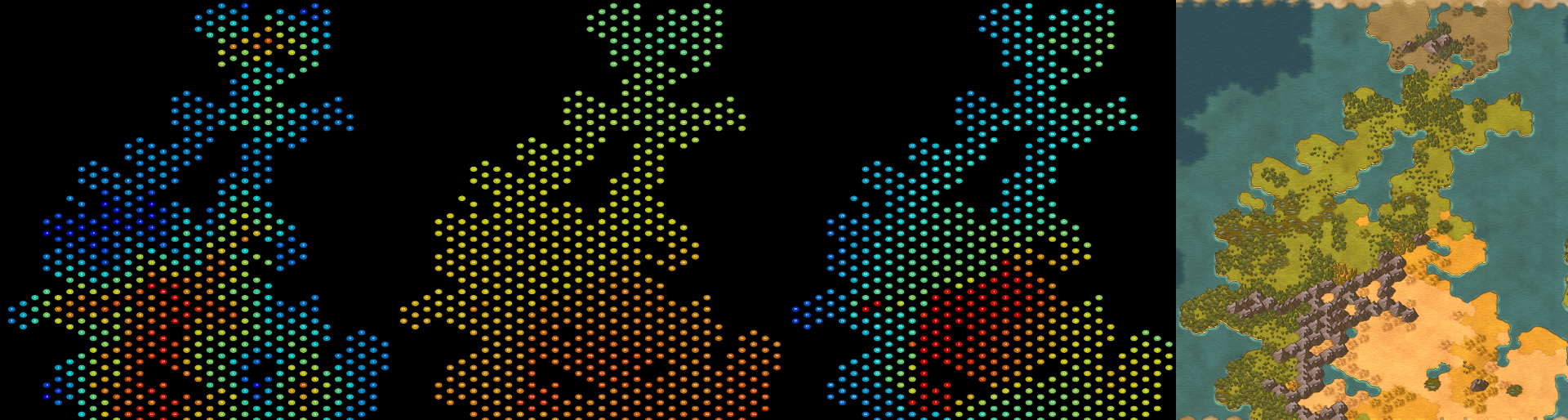 Map generation consists of several simulation layers.