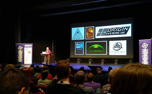 A true legend of game design and storytelling on stage! #warrenspector #hmqinstatakeover #ng19  #storytelling #gamedevelopers #gamestorytelling