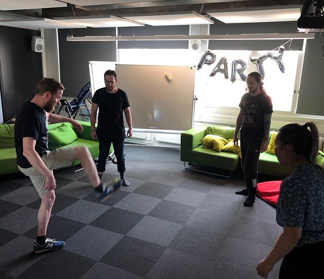 Playing hacky sack for exercise break (yes, there is a ball)⚽️ #hackysack #exercise #hmqfamily #hmqlife #gamedev