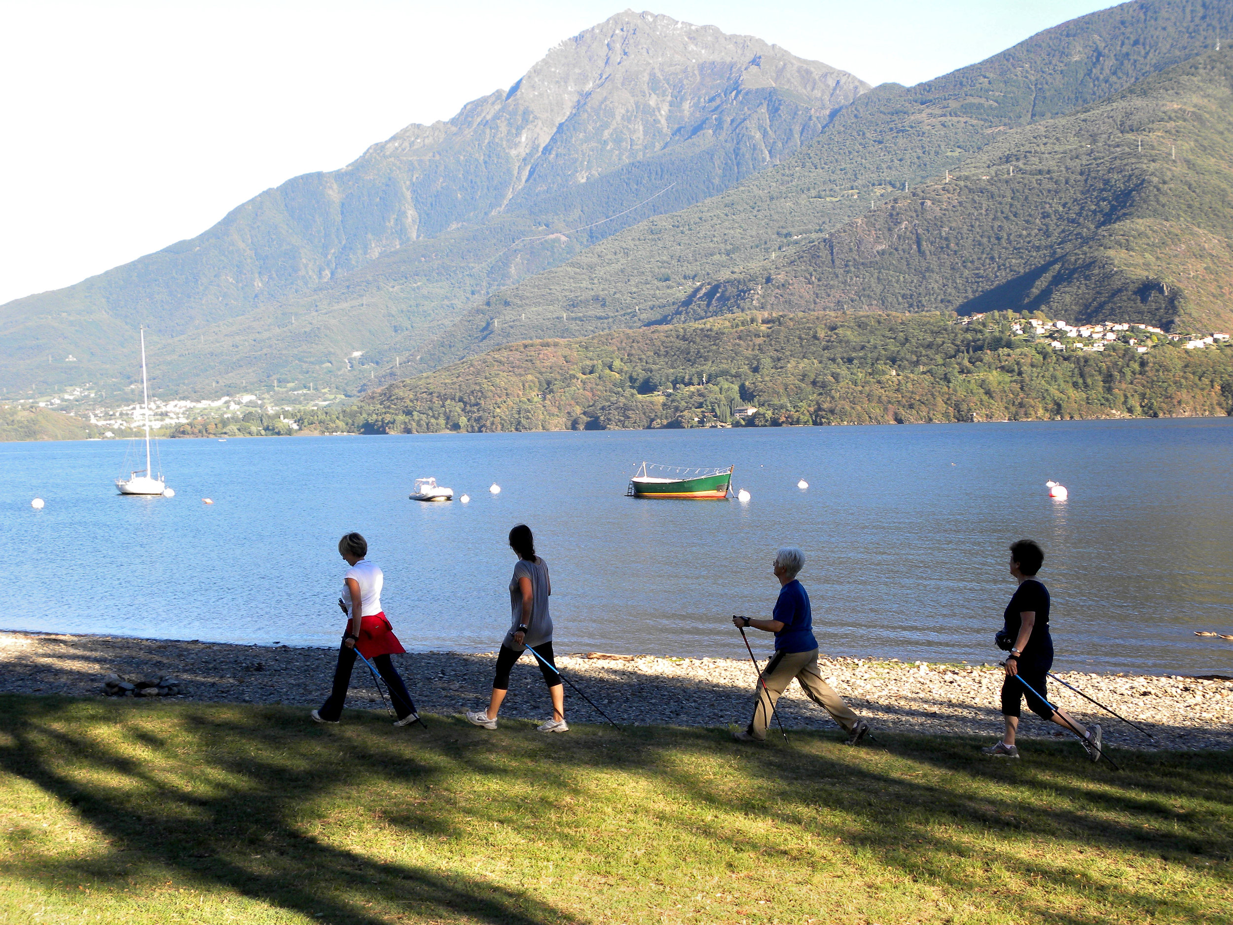 nordic walking hiking como lake