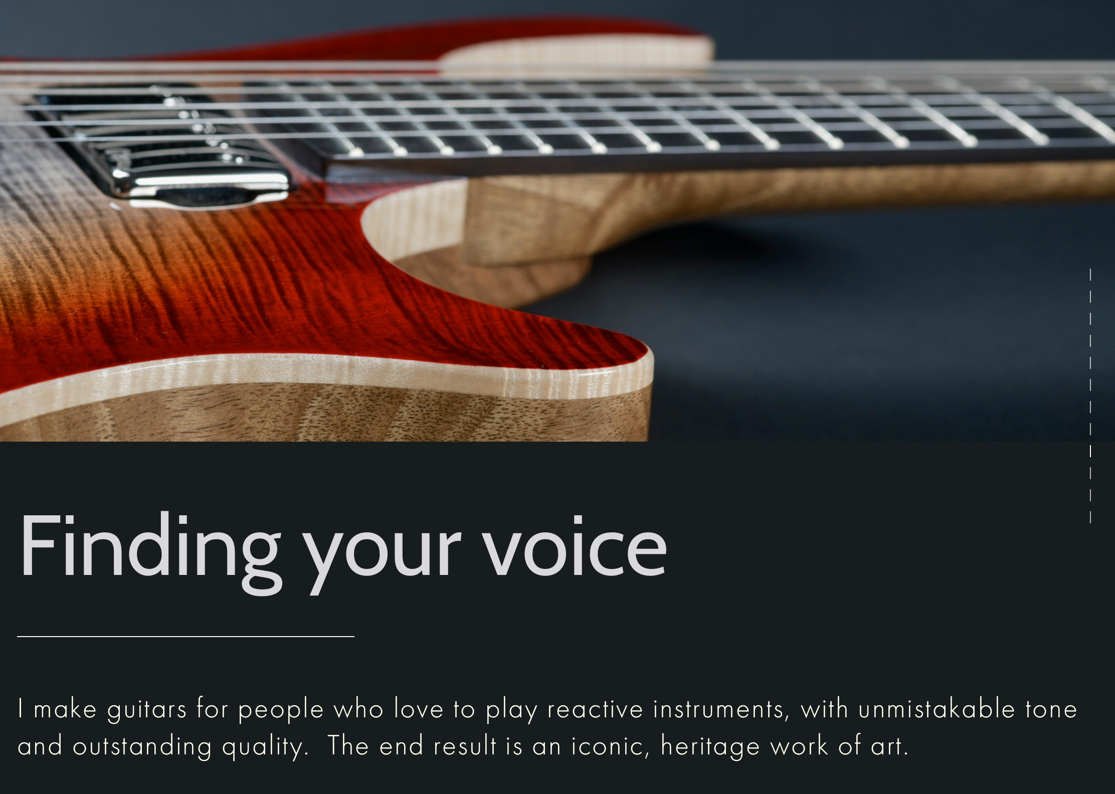 Brief: Guitar maker required a contemporary website incorporating video and music. Design was paramount - to showcase a range of beautiful handmade guitars with appeal to clients in the UK and Europe. - visit www.mjsguitars.net