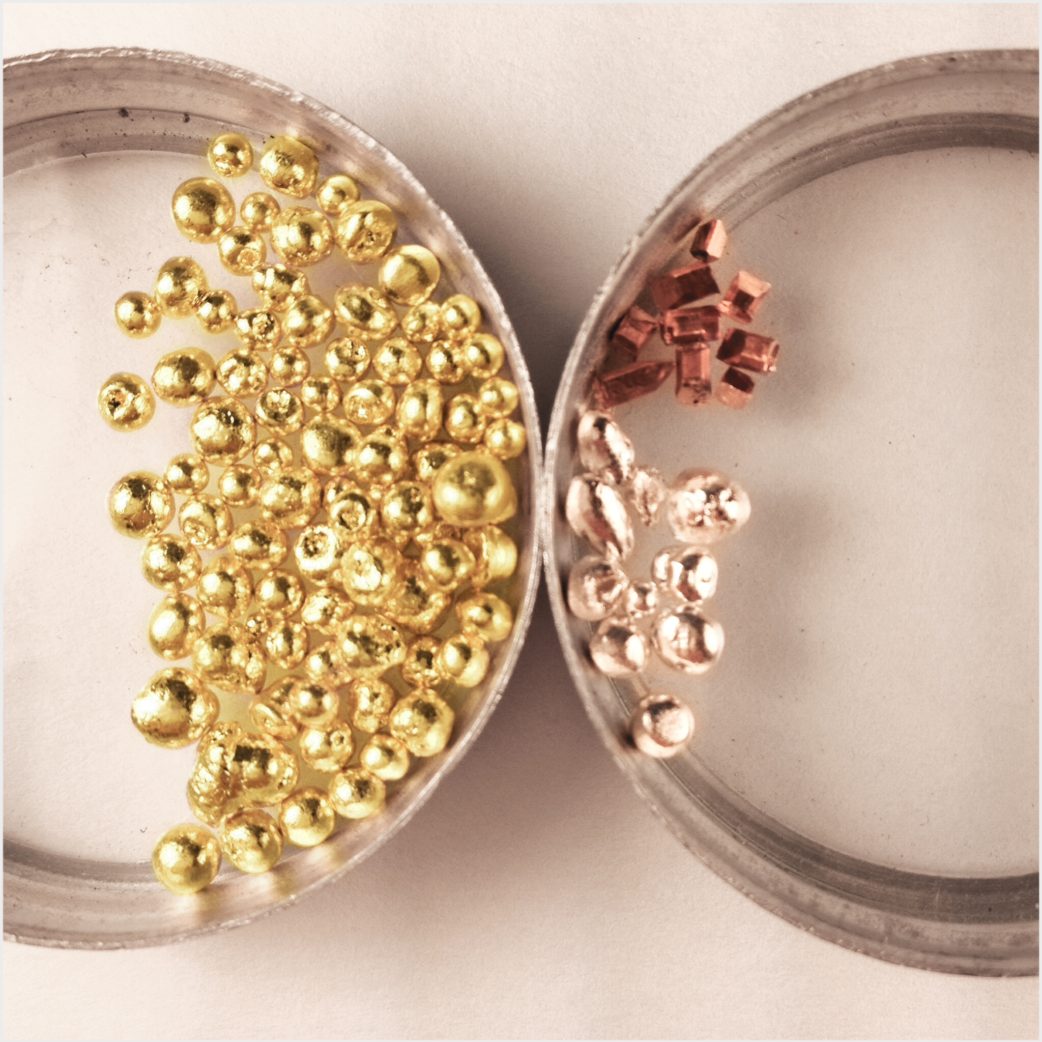 fair mined gold + copper + silver ready for alloying