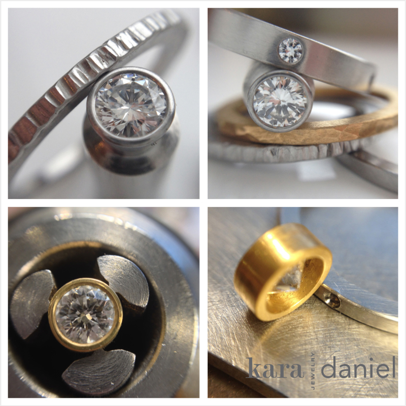 in process: bezel-set diamonds & stack bands