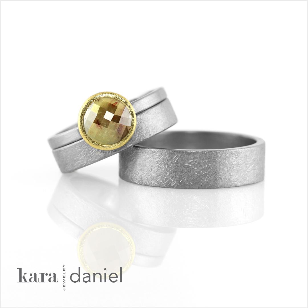 rose-cut diamond engagement ring + rustic finish wedding bands