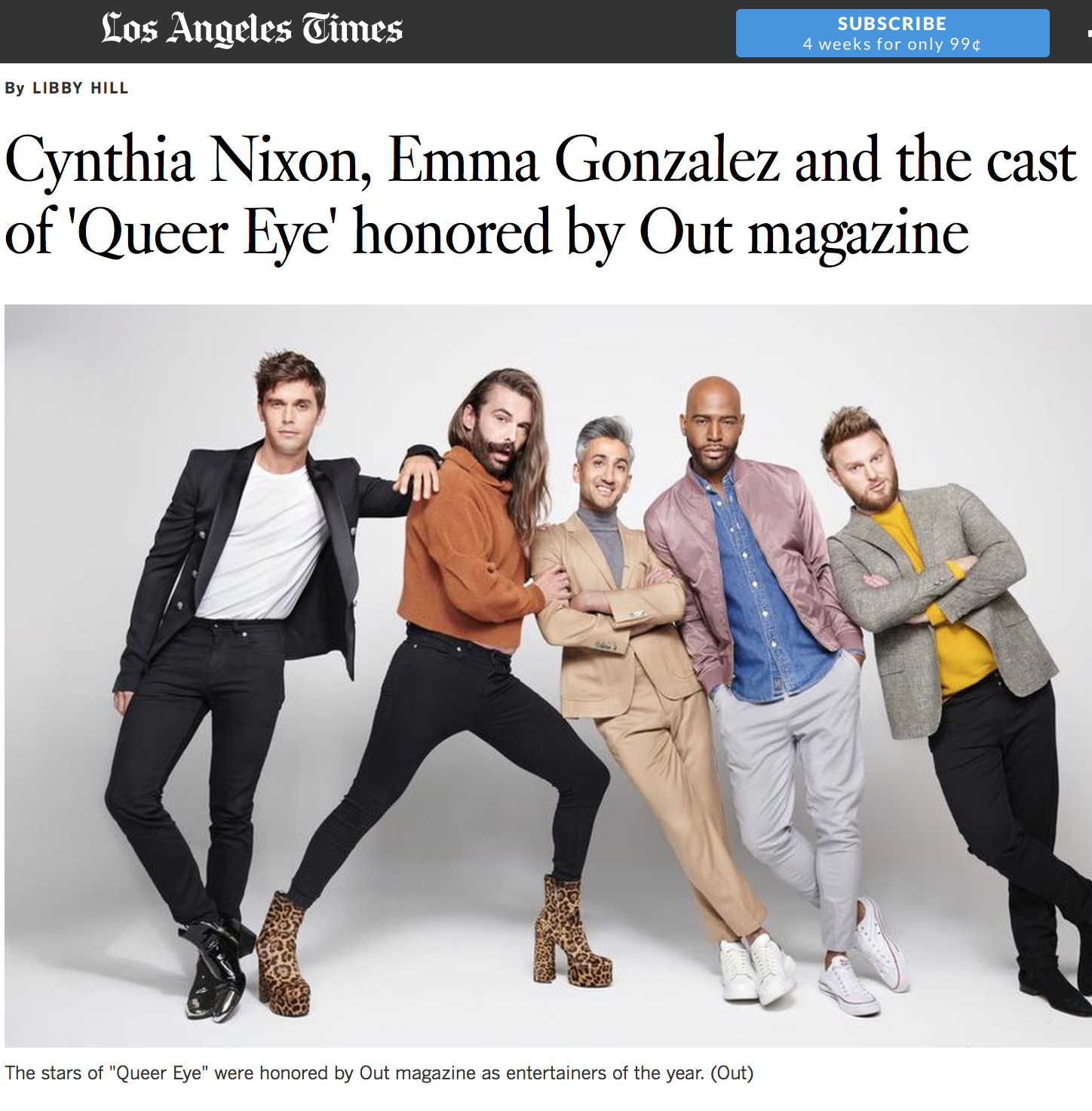 """LOS ANGELES TIMES    """"The theme of this year's list is Generations, which executive editor R. Kurt Osenlund reflected on in his editor's letter for the magazine. 'Young queer people embody the progress no one can stop,' Osenlund wrote. 'They are inflexibly done with systemic ugliness and toxic traditions.'"""""""